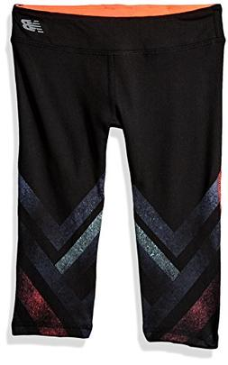 New Balance Kids Big Girls' Performance Capri, Black/Vivid/C