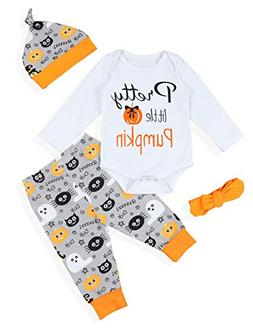 NewZhu Baby Girls Boys Clothes Sets Halloween Little Pumpkin