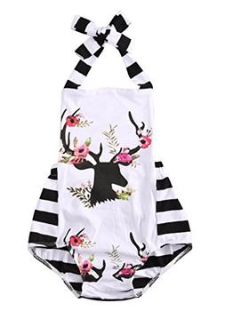 Newborn Baby Girl Clothes Deer Cartoon Bodysuit Romper Plays