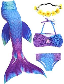 ONMet 3 Pcs Mermaid Tail Princess Girls Swimsuit Swimmable B