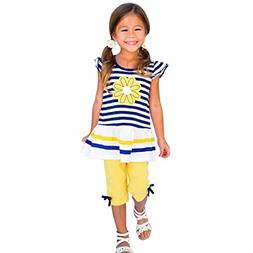 Orangeskycn Kids Girls Daisy Flower Stripe Shirt Top Bow Pan
