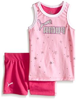 PUMA Baby Boys' Tank and Short Set, Pink Glow, 24 Months