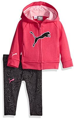 PUMA Baby Girls 2 Piece Floral Print Long Sleeve Tee and Leg