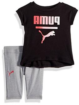 PUMA Baby Girls 2 Piece Jersey Tee and Capri Set, Black, 6-9