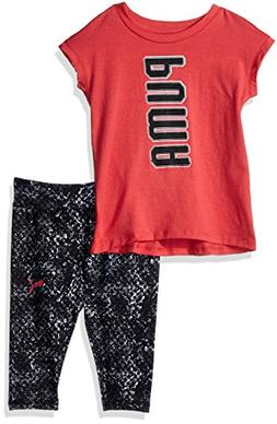 PUMA Baby Girls 2 Piece Tee and Capri Set, Paradise Pink, 18