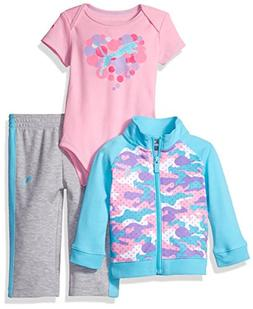 PUMA Baby Girls' 3 Piece Interlock Set, Faster Blue, 3/6M