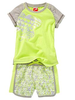 PUMA Baby Girls' Hearts Short Shirt, Safety Yellow, 12 Month