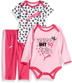 PUMA Baby Girls Three Piece Creeper Bodysuit Set, Pink Glow,