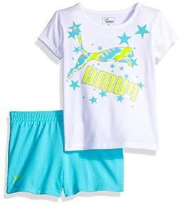 PUMA Toddler Girls Tee and Short Set, White, 2T