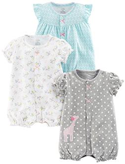 Simple Joys by Carter's Baby Girls' 3-Pack Snap-up Rompers,