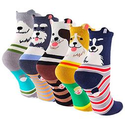 SockStory Happy Colorful Cute SOCKS for Girls, 5 Rich Cotton