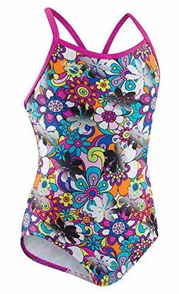 Speedo Girls Thin Strap One Piece Swimsuit Pop Art Floral Si
