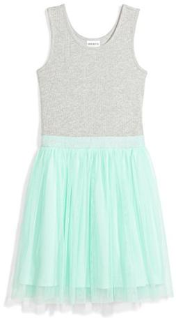 Spotted Zebra Girls' Big Tutu Tank Dress, Grey/Mint Green, M