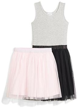 Spotted Zebra Girls' Big Tutu Tank Dress Skirt Set, Black/Pi