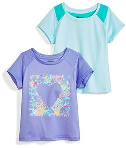 Spotted Zebra Girls' Little 2-Pack Active Short-Sleeve T-Shi