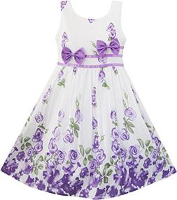 Sunny Fashion Girls Dress Purple Rose Flower Double Bow Tie