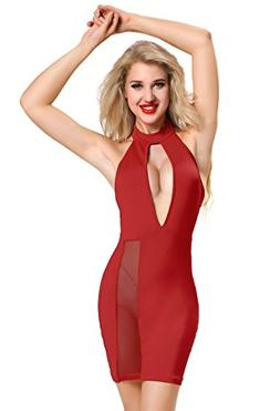Ufuntaste Sexy Plunging Split Mini Club Dress Halter Backles
