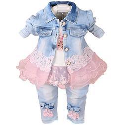 YAO Baby Girls Denim Clothing Sets 3 Pieces Sets T Shirt Den