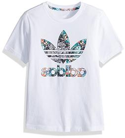 adidas Originals Girls' Big Zooanimal Print Tee, White/Multi