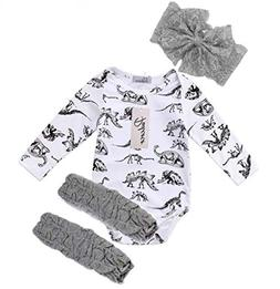 Baby Boutique Infant Dinosaur Onesie, Bow Baby Leg Warmers S