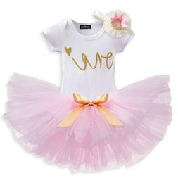 Baby Girl 1 Year Birthday Party Dress Outfits Sets Infant Gi