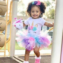 Baby Girl 1st Birthday Dress Outfits Sets Unicorn Party Rain