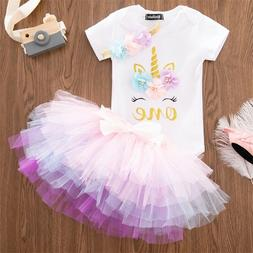 Baby Girl 1st Birthday Unicorn Dress Outfits Infant Party Cl