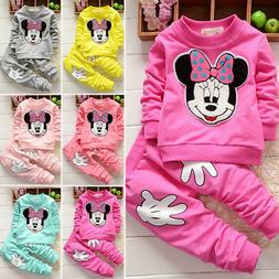 Baby Girl Minnie Mouse Long Sleeve Tops T-shirt+ Pants 2Pcs