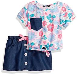 kensie Baby Girls' 2 Piece Slub Jersey Spring Floral Top and