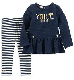 Juicy Couture Baby Girls 2 Pieces Tunic Legging Set, Navy/Bl