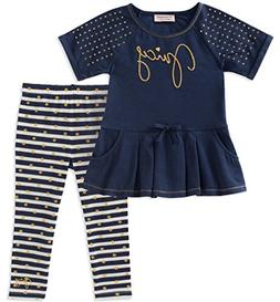 Juicy Couture Baby Girls 2 Pieces Tunic Set, Navy/Gold Dot,