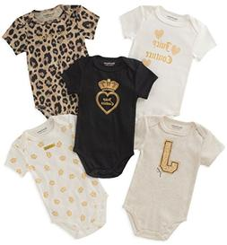 Juicy Couture Baby Girls 5 Packs Bodysuit, Oatmeal/Gold/Blac
