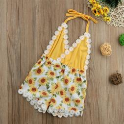 Baby Girls Clothing Sunflower Romper Sleeveless V Neck Halte
