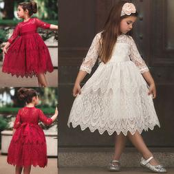 Baby Girls Kids Vintage Lace Dress Xmas Party Wedding Flower Girl Princess Dress