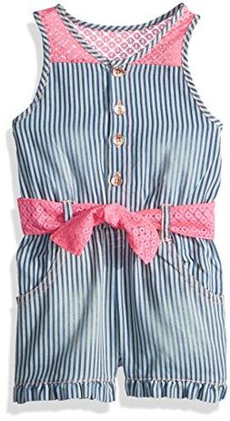 Limited Too Baby Girls Romper, Mini Stripe Pink lace Multi P