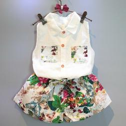 Baby Kids Girls Clothing Sleeveless Blouse T-shirt+Floral Pa