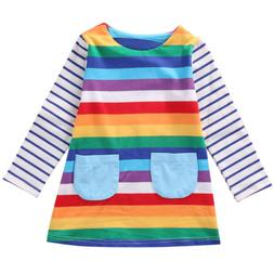 Baby Kids Girls Stripe Clothes Long Sleeve Tops Skirt Party