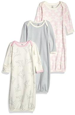 Touched by Nature Baby 3-pack Organic Cotton Gown, Bird, 0-6