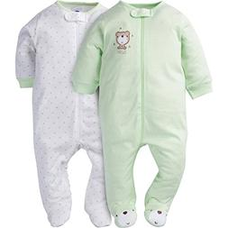 Gerber Baby 2 Pack Zip Front Sleep 'n Play, Teddy, 6-9 Month