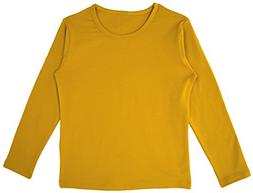 Lovetti Girls' Basic Long Sleeve Round Neck T-Shirt 5 Mustar
