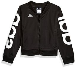 adidas Girls' Little Bomber Jacket, Black Heather, 6