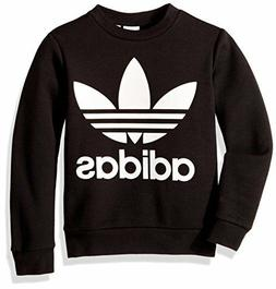 adidas Originals Big Boys' Fleece Crew, Black/White