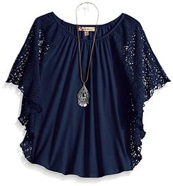 Speechless Big Girls' 7-16 Circle Top with Necklace, Navy, M