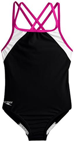 Speedo Big Girls Cross Back Splice 1 Piece, Black/Pink, 8