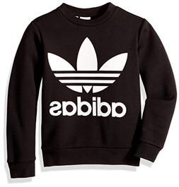 adidas Originals Boys' Big Fleece Crew, Black/White, Small