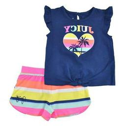 big girls blue and multi color 2pc