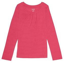 French Toast Big Girls' Long Sleeve Crew Neck Shirt, Fuchsia