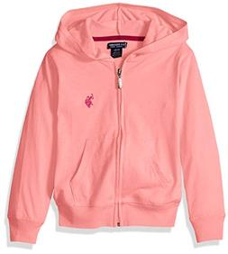 U.S. Polo Assn. Girls' Big Long Sleeve Jersey Hoodie, as as