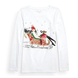 The Children's Place Big Girls' Long Sleeve Sleigh Graphic T