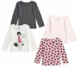 Spotted Zebra Big Girls' 4-Pack Long-Sleeve T-Shirts, Glam C